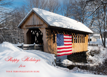 Patriotic Covered Bridge Winter Snow Scene Cards